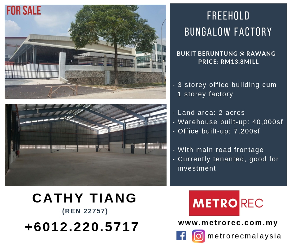 Detached factory for sale @ Bukit Beruntung, Rawang