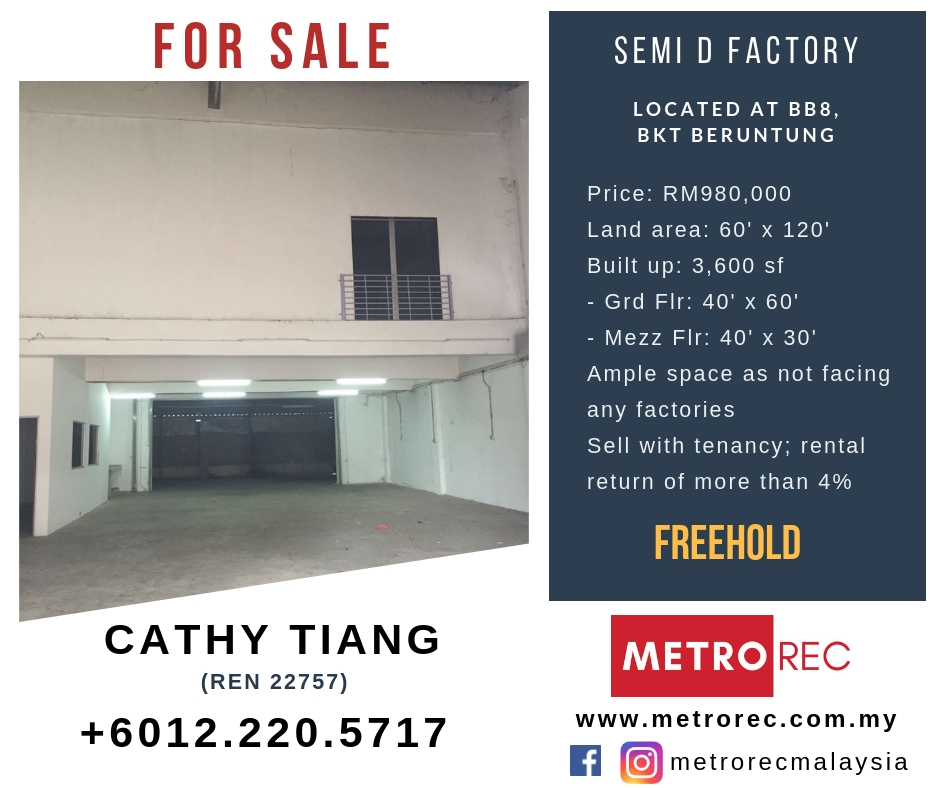 Semi-d factory for sale @ BB8, Bukit Beruntung