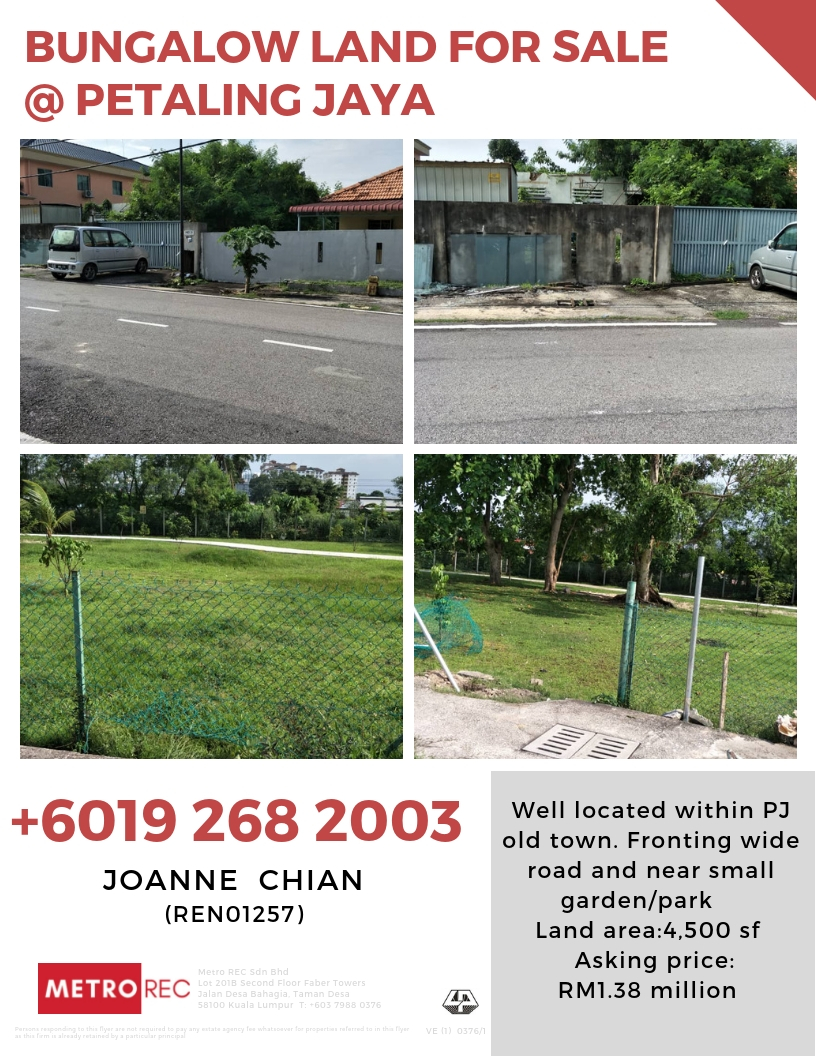 Bungalow land for sale @ PJ Old Town