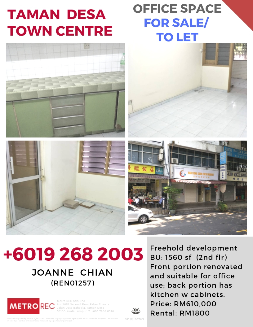Taman Desa stratified office unit for sale/ to let
