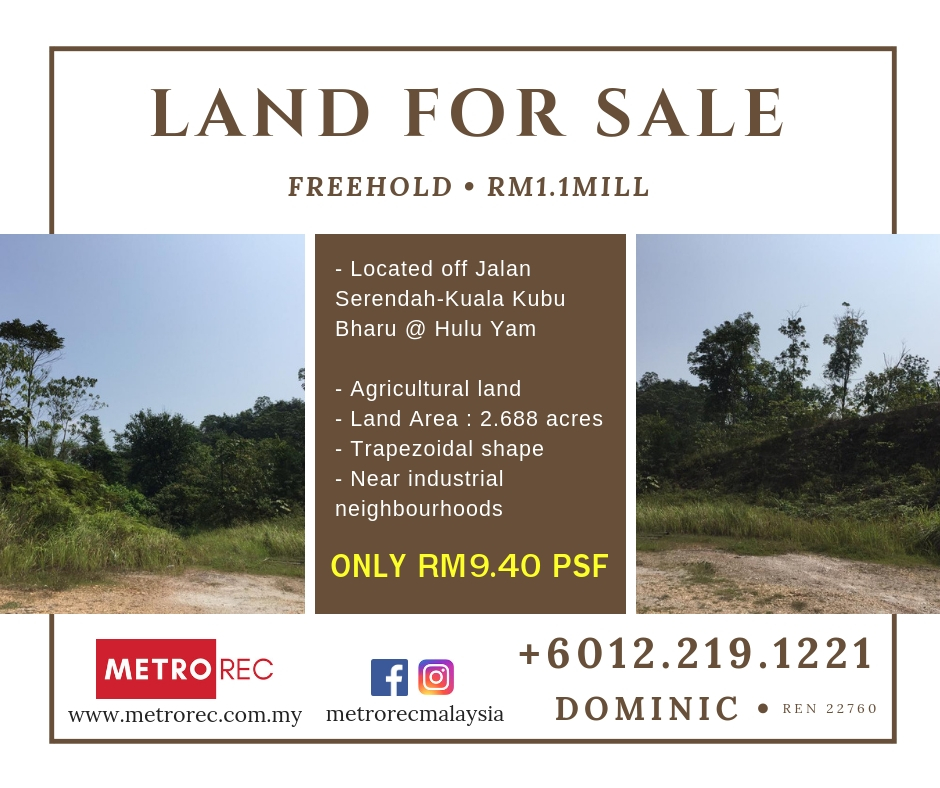 Freehold land for sale @ Ulu Yam